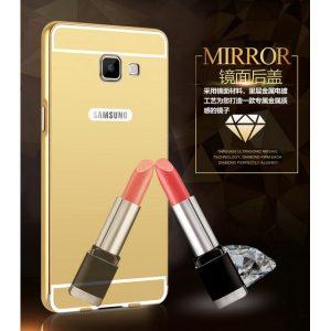 Металический бампер с акриловой вставкой с зеркальным покрытием для Samsung Galaxy A3 2016 (A310) gold