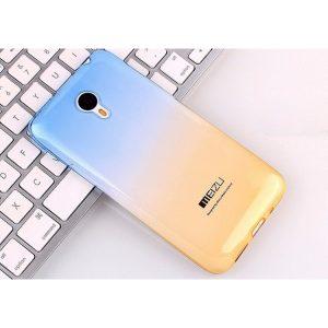 Прозрачный силиконовый  чехол с сине-желтым градиентом для Meizu M3/M3 mini/M3s