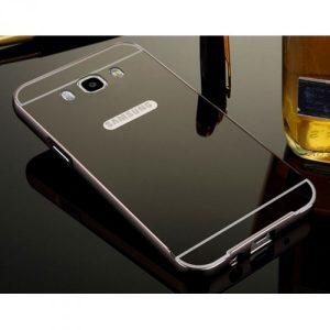 Металический бампер с акриловой вставкой с зеркальным покрытием для Samsunga Galaxy J7 2016 (SM-J710F) black-grey