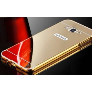 Металический бампер с акриловой вставкой с зеркальным покрытием для Samsunga Galaxy J7 2016 (SM-J710F) gold