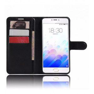 Кожаный чехол (книжка) Wallet с визитницей для Meizu M3 Note (Черный)