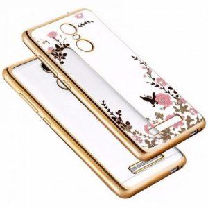 Прозрачный чехол с цветами и стразами для Xiaomi Redmi Note 3 / Note 3 Pro с глянцевым бампером (Золотой/Розовые цветы)
