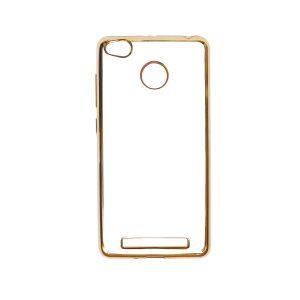 Прозрачный силиконовый чехол для Xiaomi Redmi 3 Pro / Redmi 3s с глянцевой окантовкой (Золотой)