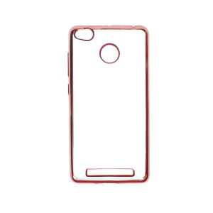 Прозрачный силиконовый чехол для Xiaomi Redmi 3 Pro / Redmi 3s с глянцевой окантовкой (Розовый)