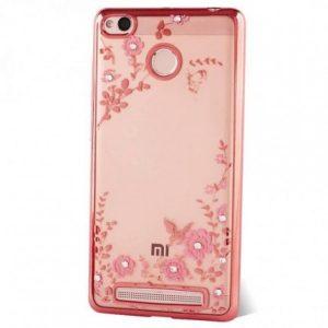 Прозрачный чехол с цветами и стразами для Xiaomi Redmi 3 Pro / Redmi 3s с глянцевым бампером (Розовый золотой/Розовые цветы)