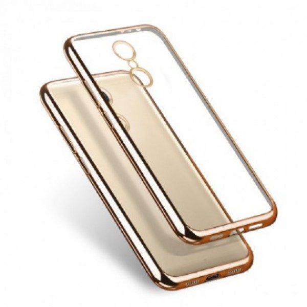 Прозрачный силиконовый чехол для Xiaomi Redmi Note 4 (MTK) с глянцевой окантовкой (Золотой)
