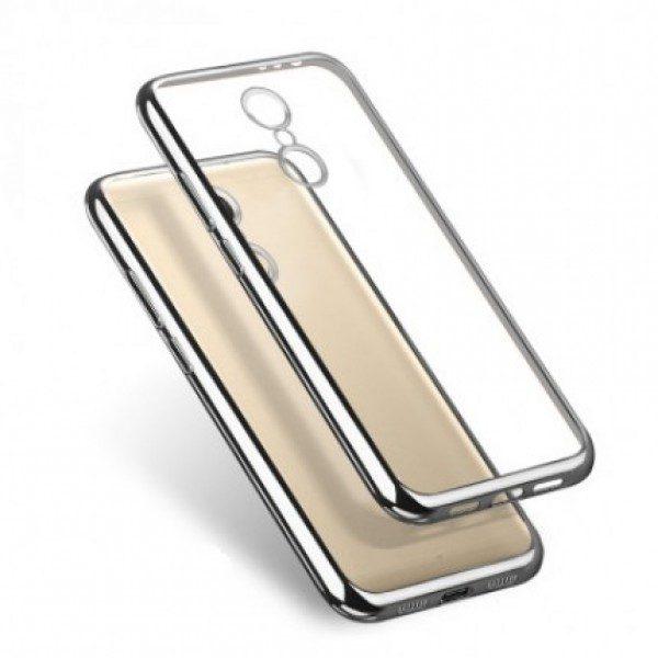 Прозрачный силиконовый чехол для Xiaomi Redmi Note 4 (MTK) с глянцевой окантовкой (Серебряный)