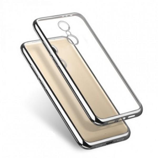 Прозрачный силиконовый чехол для Xiaomi Redmi Note 4 (Mediatek) с глянцевой окантовкой (Серебряный)