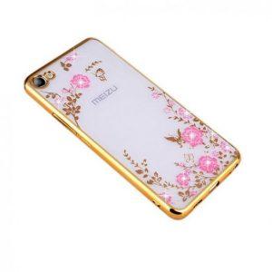 Защитный прозрачный силиконовый чехол с цветами и стразами с глянцевым золотым ободком для Meizu U10