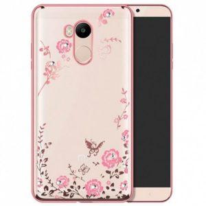 Прозрачный чехол с цветами и стразами для Xiaomi Redmi 4 Pro / 4 Prime с глянцевым бампером (Розовый золотой / Розовые цветы)