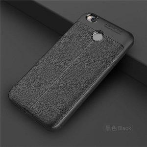 TPU чехол фактурный (с имитацией кожи) для Xiaomi Redmi 4X (Черный)