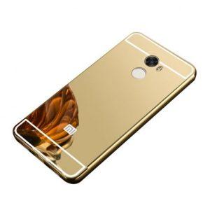 Алюминиевый бампер с акриловой вставкой с зеркальным покрытием для Xiaomi Redmi 4 (Gold)