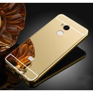 Металлический бампер с акриловой вставкой с зеркальным покрытием для Xiaomi Redmi 4 Pro / Redmi 4 Prime (Gold)