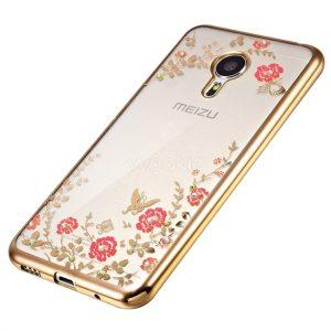 Прозрачный силиконовый чехол с глянцевым золотым ободком, цветами и стразами для Meizu M5