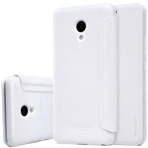 Кожаный чехол (книжка) Nillkin Sparkle Series для Meizu M5 (Белый)