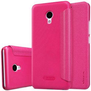 Кожаный чехол (книжка) Nillkin Sparkle Series для Meizu M5 (Розовый)