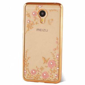 Защитный силиконовый прозрачный чехол с цветами и стразами с глянцевой золотой окантовкой для Meizu M3/M3 mini/M3s