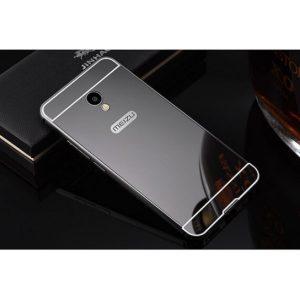 Металлический бампер с акриловой вставкой с зеркальным покрытием для Meizu M5s (Серый / Grey)