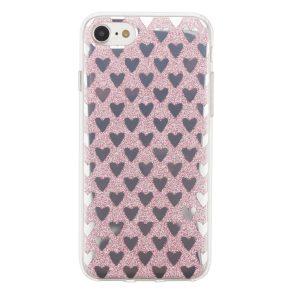 "Cияющий TPU чехол с сердечками для Apple iPhone 7 / 8 (4.7"") Pink"