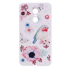 TPU чехол матовый soft touch с птичкой и цветами для Xiaomi Redmi Note 4X / Note 4 (SD)