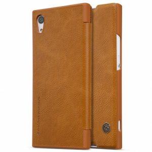 Кожаный чехол (книжка) Nillkin Qin Series для Sony Xperia XA1 / XA1 Dual (Коричневый)