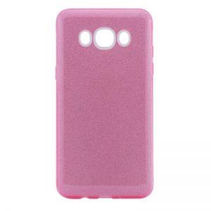 Силиконовый (TPU) чехол – бампер с блестками Shine для Samsung J710F Galaxy J7 (2016) Розовый