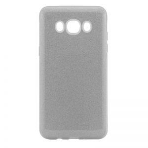 Силиконовый (TPU) чехол – бампер с блестками Shine для Samsung J710F Galaxy J7 (2016) Серебряный