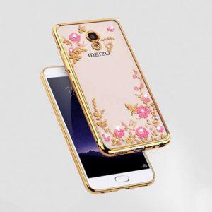 Прозрачный чехол с цветами и стразами для Meizu M5s с глянцевым бампером (Золотой/Розовые цветы)