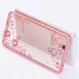 Прозрачный чехол с цветами и стразами для Meizu M5s с глянцевым бампером (Розовый золотой/Розовые цветы)