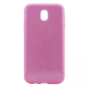 Силиконовый (TPU) чехол – бампер с блестками Shine для Samsung J530 Galaxy J5 2017 (розовый)