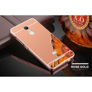 Металлический бампер с акриловой вставкой с зеркальным покрытием для Xiaomi Redmi 5 Plus (Розовый)