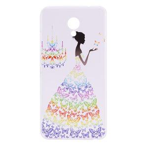 TPU чехол Cute Print для Meizu M5 Girl (Butterfly dress)