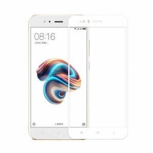 Цветное защитное стекло 2.5d full cover (на весь экран)  для Xiaomi Mi 5x / Mi A1 (White)