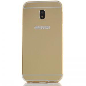 Металлический бампер с акриловой вставкой с зеркальным покрытием для Samsung J330 Galaxy J3 (2017) Золотой
