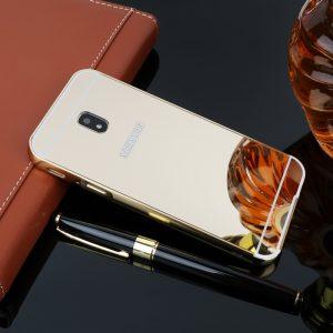 Металлический бампер с акриловой вставкой с зеркальным покрытием для Samsung J530 Galaxy J5(pj) (золотой)