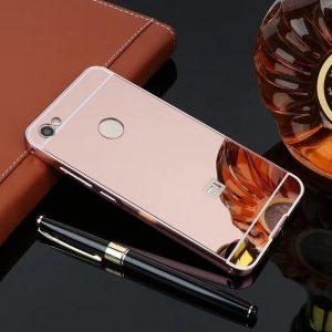 Металлический бампер с акриловой вставкой с зеркальным покрытием для Xiaomi Redmi Note 5A Prime / Y1 (Розовый)
