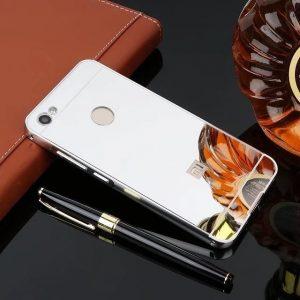 Металлический бампер с акриловой вставкой с зеркальным покрытием для Xiaomi Redmi Note 5A Prime / Y1 (Серебряный)
