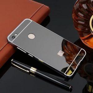 Металлический бампер с акриловой вставкой с зеркальным покрытием для Xiaomi Redmi Note 5A Prime / Y1 (Черный)