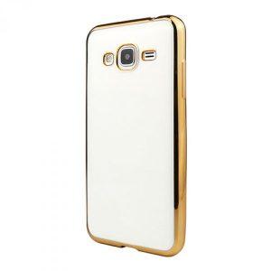 Прозрачный силиконовый чехол с глянцевым ободком для Samsung Galaxy J5 2015 (SM-J500H) gold