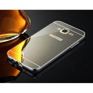 Металический бампер с акриловой вставкой с зеркальным покрытием для Samsung Galaxy J5 2015 (J500) black-grey