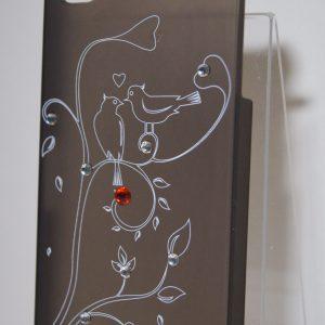 Защитный пластиковый матовый чехол с деревом и птицей для Iphone 4