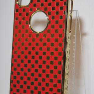 Защитный пластиковый чехол с красно-золотыми квадратами для Iphone 4