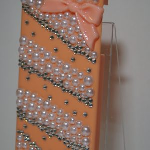 Защитный пластиковый  оранжевый чехол с бантиком и стразами для Iphone 5 / 5c / 5s / SE