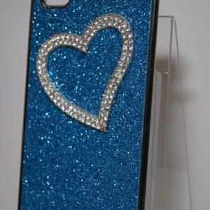 Защитный пластиковый голубой чехол с сердцем с камней для Iphone 4
