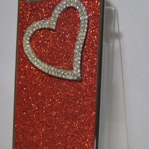 Защитный пластиковый красный чехол с сердцем с камней для Iphone 4
