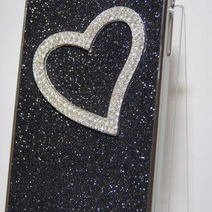 Защитный пластиковый черный чехол с сердцем с камней для Iphone 4