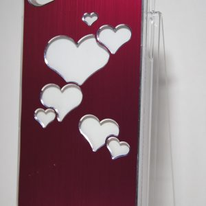 Защитный пластиковый  розовый чехол с серебряными сердечками для Iphone 4