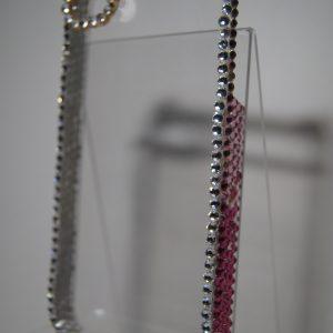 Защитный пластиковый прозрачный чехол с розовыми стразами для Iphone 4