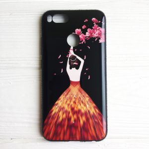 TPU чехол Magic Girl со стразами для Xiaomi Mi 5X / Mi A1 (Черный / Лепестки)