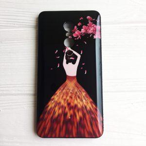 Чехол – накладка со стразами для Xiaomi Redmi Note 4X / Note 4 (Snapdragon) (Черный / Лепестки)